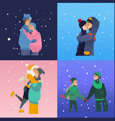 sketch lovers hugging kissing at winter vector image