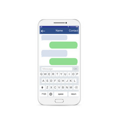 smartphone white chatting sms app template vector image