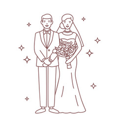 smiling bride and groom drawn with contour lines vector image