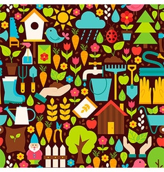Spring Garden Flat Design Brown Seamless Pattern vector image