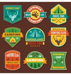 Summer Camping Colorful Emblems vector