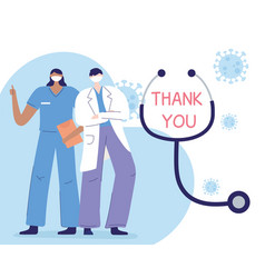 Thank you doctors and nurses physician and nurse vector