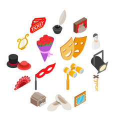 Theatre icons set isometric 3d style vector