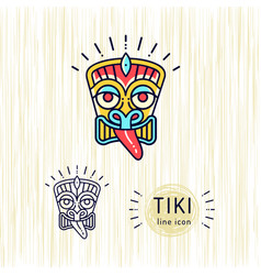 tiki icons colorful design tiki mask head thin vector image