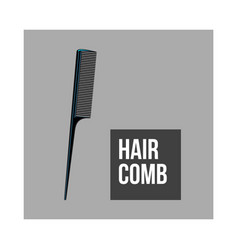 Traditional plastic black hairdresser comb sketch vector