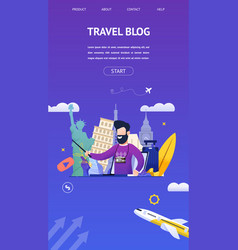 Travel blog for interesting sights country travel vector