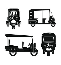 tuk rickshaw thailand icons set simple style vector image