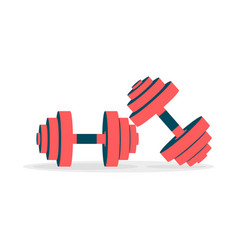 two dumbbell icons on a white background vector image