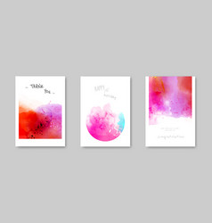 Watercolor hand-painted modern card set vector