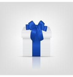 White square gift box with blue ribbon and bow vector