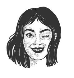 Winking beautiful young woman sketch vector