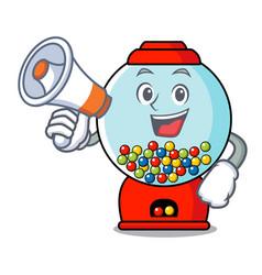 with megaphone gumball machine character cartoon vector image