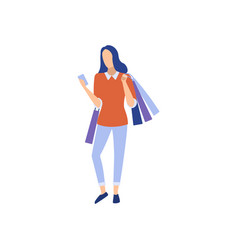 woman holding shopping bags and smartphone vector image