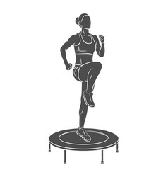 woman jumping on trampoline young fitness girl vector image