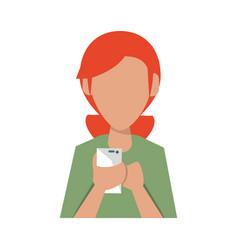 Woman using cellphone vector