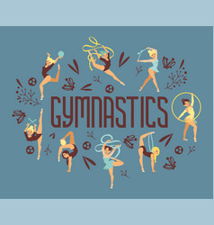 Young girl gymnast exercise sport athlete vector