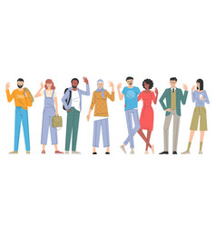 young men and women greeting characters vector image