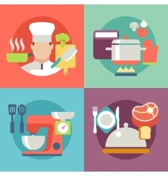 cooking process delicious food best recipes icons vector image