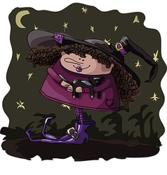 Figure witch with a cat on halloween vector