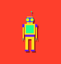 flat icon design robot toy with antenna in vector image vector image