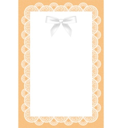lace background with white bow vector image