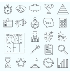 Line icons management vector image vector image