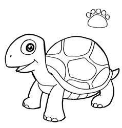 paw print with turtle Coloring Page vector image vector image