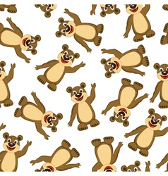 Seamless Funny Cartoon Bear vector image
