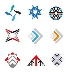 Set of 9 Arrow logo element vector image vector image