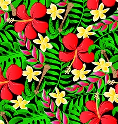 Tropical frangipani palms and hibiscus flowers vector image