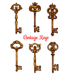 vintage brass keys isolated icons set vector image vector image