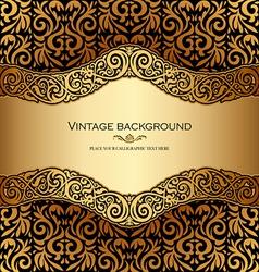 Antique victorian gold ornamental card vector image vector image