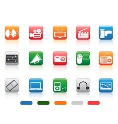 button media tools icon set vector image vector image