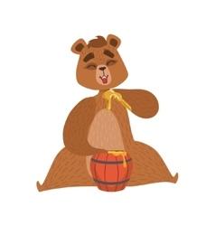 Girly Cartoon Brown Bear Character Eatin Honey vector image