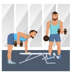 Male Characters Doing Fitness vector image vector image