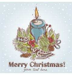 Ornate Christmas hand drawn retro postcard vector image vector image