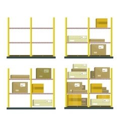 Set Of Racks With Boxes In Flat Design vector image