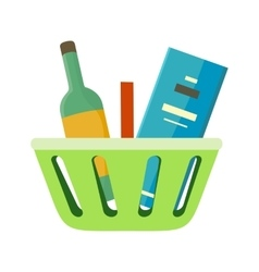 Shopping Basket with Goods vector image vector image