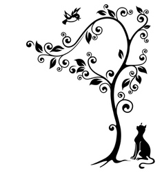 Cat under a tree vector image