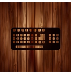 Computer keyboard web icon Wooden texture vector image