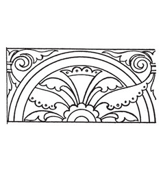 Medieval link border is found in a mural painting vector