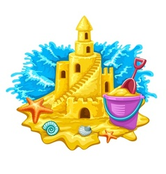 Sand castle with childs toys vector image
