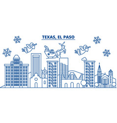 usa texas el paso winter city skyline merry vector image vector image