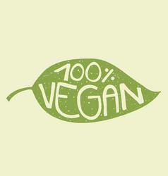 vegan leaf stamp vector image vector image