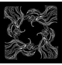 white floral pattern on black background vector image vector image