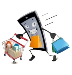 Black Friday virtual shopping Joyful smartphone vector image