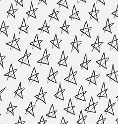 Doodle abstract pattern with stars Black and white vector image