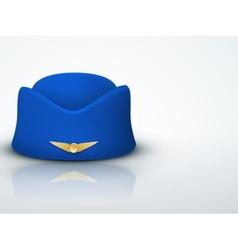 Light background stewardess hat of air hostess vector