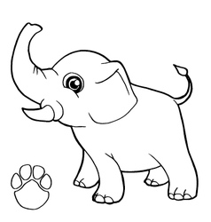 paw print with elephant Coloring Page vector image