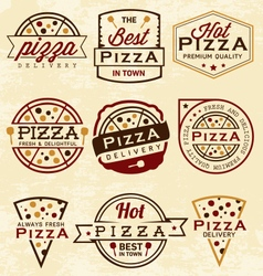 Pizza Labels and Badges in Vintage Style vector image